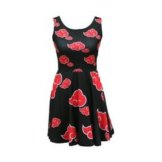 Naruto Akatsuki Dress ❤ liked on Polyvore featuring dresses, flare dress, stretchy dresses, fit flare dress, fit and flare dress and flared dresses