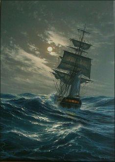 Read Al otro extremo from the story 🐚La voz de las Sirenas Ship Paintings, Seascape Paintings, Landscape Paintings, Landscapes, Old Sailing Ships, Pirate Art, Ship Drawing, Fantasy Landscape, Ship Art