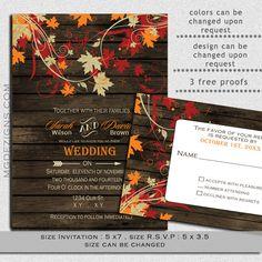 DIY Printable Rustic Barnwood Fall leaves, Rustic fall wedding invitations and rsvp template on Etsy, $25.00
