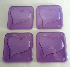 Hearts purple fused art glass coasters with kiln by KrucialObjects