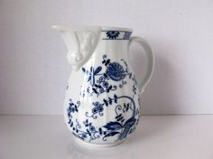 Vintage Blue and White Pitcher Vienna Woods Blue Onion by Sfuso