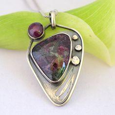 Russian Eudialyte Star Ruby Sterling Pendant, Eudialyte Pendant, Star Ruby Pendant, Oxidized Sterling Silver Pendant, Purple Stone Pendant