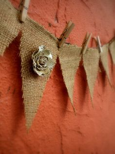 Burlap bunting banner by WhimzyLife on Etsy,