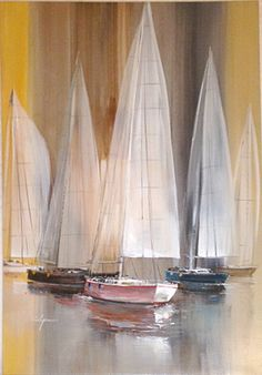Artist: Wilfred Lang, Chinese/American (1954 - ) Title: Sailboats Medium: Acrylic on Canvas Size: 48 x 24 in. (121.92 x 60.96 cm) Price: $4800