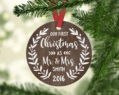 Personalized Wedding Ornament Christmas Ornaments Wedding Christmas Ornaments First Christmas as Mr and Mrs Ornament Personalized Ornament by fieldtrip on Etsy https://www.etsy.com/ca/listing/489172511/personalized-wedding-ornament-christmas