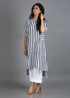 Woven Striped Pure Linen Tunic