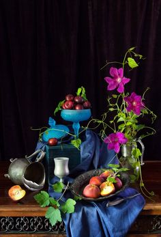 Still Life with Plums & Peaches at Cooking Melangery