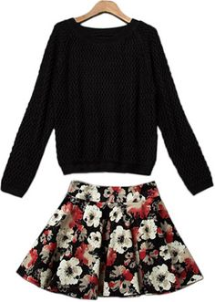 Shop Black Long Sleeve Knit Sweater With Floral Skirt online. Sheinside offers Black Long Sleeve Knit Sweater With Floral Skirt & more to fit your fashionable needs. Free Shipping Worldwide!