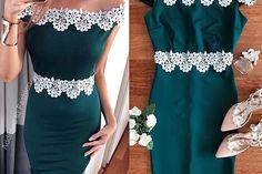 Rochie de seara eleganta stramta verde cu broderie din dantela alba Tulle, Green, Embroidery