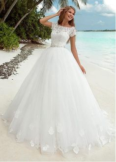 Buy discount Fabulous Lace & Tulle Bateau Neckline Ball Gown Wedding Dress With Lace Appliques & Sequins at Dressilyme.com