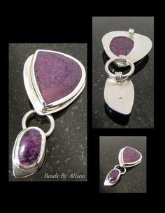 Sugilite double drop sterling silver bezel set pendant. Cabochon by Bob Wright, Silver by Beads By Alison. Gemstones & Cabochons - Beads By Alison