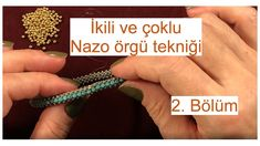 Dual and multiple Nazo weaving technique joining of ends. Seed Bead Patterns, Beading Patterns, Right Angle Weave, Wire Jewelry, Diy Jewellery, Beaded Jewelry, Bracelet Tutorial, Weaving Techniques, Bead Crochet