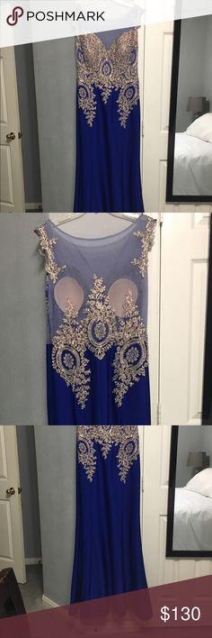 Prom dress worn once Thick satin feel with beautiful gold beading could be XL or XXL                                                       Feel free to ask as many questions as you'd like Dresses Prom