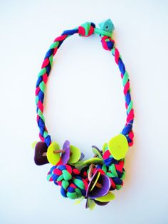 gifts for her, colorful fabric necklace, unique necklaces, textile jewelry, chunky necklace, statement jewelry, braided knotted necklace