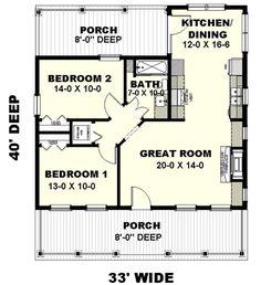Bungalow Floor Plans, Small House Floor Plans, Cabin Floor Plans, Tiny Cottage Floor Plans, Tiny Cabin Plans, Cottage House Plans, Country House Plans, Cottage Homes, Cottage Ideas