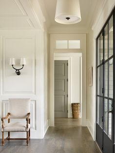 Love this color combo: SW Alabaster and BM Kendall Charcoal. Beth Webb Interiors -Kiawah Island