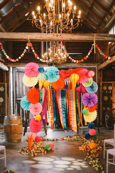 Wedding Theme Ideas A Bright Rainbow Wedding Theme Full Of Colour - I love the thought of a fiesta-inspired rainbow wedding: one that's bursting with colour and happiness. Take a look at how to create this fab theme! Hippie Party, Ceremony Decorations, Paper Decorations, Ceremony Backdrop, Fiesta Decorations, Rainbow Wedding Decorations, Paper Garlands, Mexican Party, Cuban Party