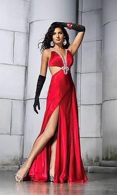 Sexy Long Cut Out Dress RV-6532  www.dresseswd.com  Style: RV-6532  Name: Sexy Long Cut Out DressDetails: Open Back, Side Cut Outs, Embellished, Front Slit   Length: Long   Neckline: Low V-Neck   Waistline: Natural