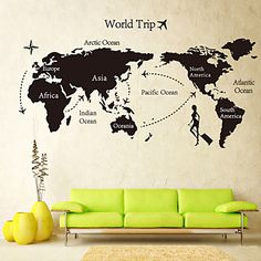 Global World Map Atlas Vinyl Wall Art Dekal Wall Sticker - SEK Kr. 107