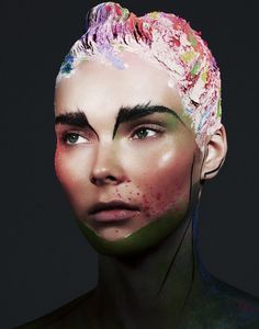 A Flash in the Dark – For the September-October issue of Wonderland, photographer Bjarne Jonasson lenses Julia Valimaki (Storm) in an exquisite range of beauty looks by make-up artist Kelly Cornwell (Premier). Julia is a stunning work of art for the glossy, with abstract applications of vivid color and the boldest of brows.