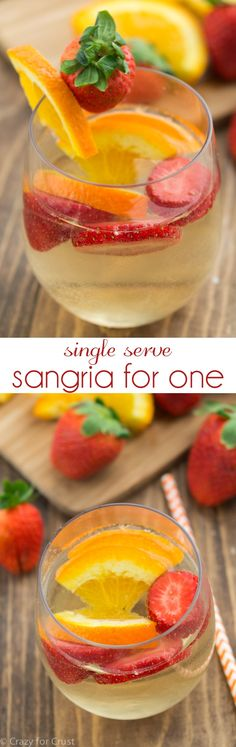 Single Serve Sangria makes one serving of summer sangria. It's the perfect fast and easy cocktail recipe!