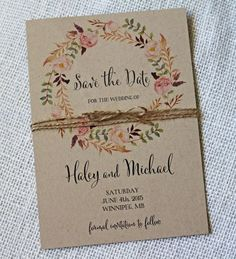 Rustic floral and kraft paper save-the-date