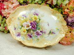 Antique Limoges Porcelain Tray Platter Hand Painted Artist Signed Gold Encrusted #Limoges