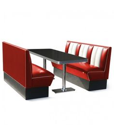 Bel Air - Classic Diner Retro Bel Air Set 2 x Booth 150 cm and Table