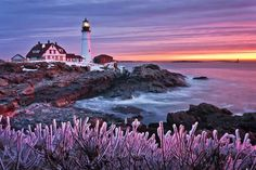 Winter sunrise at Portland Head Light, Cape Elizabeth, Maine located an hour from Stage Neck Inn Portland Lighthouse, Black And White Landscape, Dramatic Lighting, Winter Images, Traditional Landscape, Landscape Photographers, Landscape Photos, Beautiful Landscapes, Beautiful Scenery