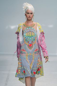 Ecclectic prints and heavy embellishment led the Manish Arora spring/summer 2014 collection at PFW .