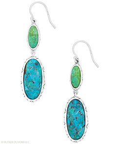 A truly memorable color combination of deep pistachio and crisp blue. Magnesite, Compressed Stabilized Turquoise, Sterling Silver.