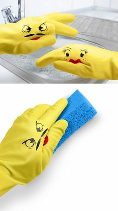 Cute cleaning rubber gloves