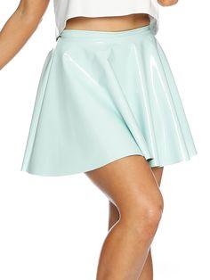 Mint Pastel PVC Skater Skirt - LIMITED (AU $60AUD / US $40USD) by Black Milk Clothing