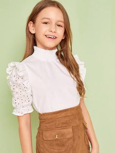 To find out about the Girls Shirred Mock-neck Ruffle Detail Schiffy Sleeve Top at SHEIN, part of our latest Girls Blouses ready to shop online today! Stylish Dresses For Girls, Dresses Kids Girl, Kids Outfits Girls, Cute Girl Outfits, Girls Fashion Clothes, Tween Fashion, Cute Outfits For Kids, Cute Casual Outfits, Cute Dresses