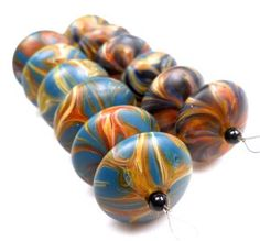 Harold Williams Cooney - american trade bead. Great shapes and colors Lampwork beads