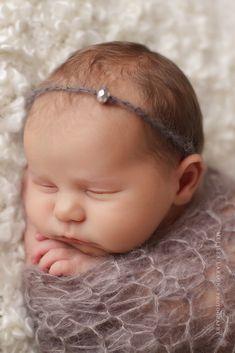 Baby Headband, Baby Halo, Newborn Headband in Gray with Bead, Great for Photo Prop. $12,00, via Etsy. - like that headband