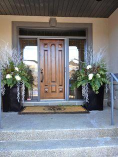 Whites brighten a shady portico.