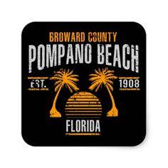 #Pompano Beach Square Sticker - #beach #travel #beachlife