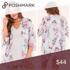 New sheer blue floral kimono Cardigan Made in the USA Fabric Content: 100% POLYESTER Danalli Sweaters Cardigans