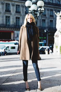 Camel coat with navy. Classic smart casual have these pieces in my wardrobe except the shoes!