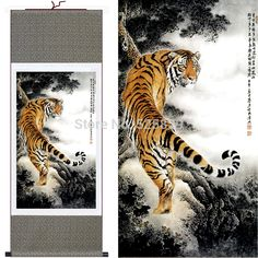 NEW! Wall Decor Home Murals Traditional Chinese Painting Tiger of Silk Scroll Art Wall Picture For Living Room Free shipping