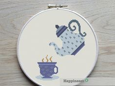 cross stitch pattern tea, modern cross stitch, a cup of tea,  PDF,  ** instant download**