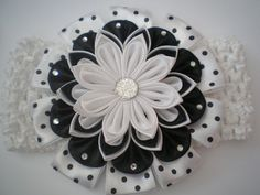 Headband for baby girls kanzashi flowe elastic by myflowersshop