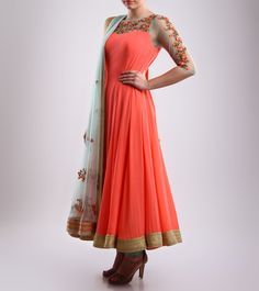 Mohini Goyal Beige & Pink Embroidered Silk & Georgette Anarkali Suit Click on the photo to shop!