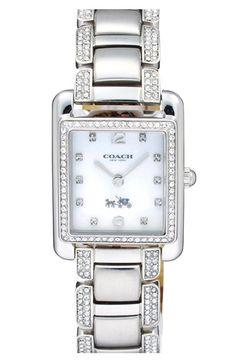 ec1c7462a2d COACH  Page  Crystal Accent Rectangular Bracelet Watch