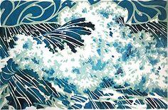 Stormy seascape - linoprint with clashing waves in deep water - Lynne Roebuck