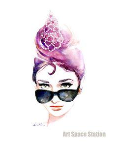 watercolor girl wearing sunglasses - Google Search