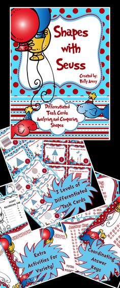 Whether you are wanting to incorporate Dr. Seuss across your curriculum for National Read Across America Day or simply looking for a fun way to offer your students additional practice with shapes, these task cards are perfect for aiding your students in counting the number of sides a shape has and naming different shapes.