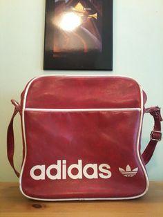 5aefc382021d Vintage Retro Red Leather Adidas Unisex Medium Sized Messenger Bag by  VintageMixWest on Etsy Red Leather