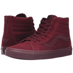 Vans SK8-Hi Reissue Zip ((Mono) Port Royale) Lace up casual Shoes ($80) ❤ liked on Polyvore featuring shoes, sneakers, zip shoes, laced sneakers, rubber footwear, flexible shoes and laced up shoes